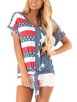 For G and PL Women's 4th of July American Flag Short Sleeve Tie Front Shirt