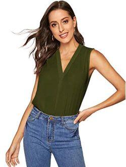 Women's Chiffon Sleeveless V Neck Tunic Blouse Loose Casual Tank Top