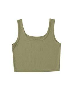Women's Sleeveless Casual Ribbed Knit Shirt Basic Crop Tank Top