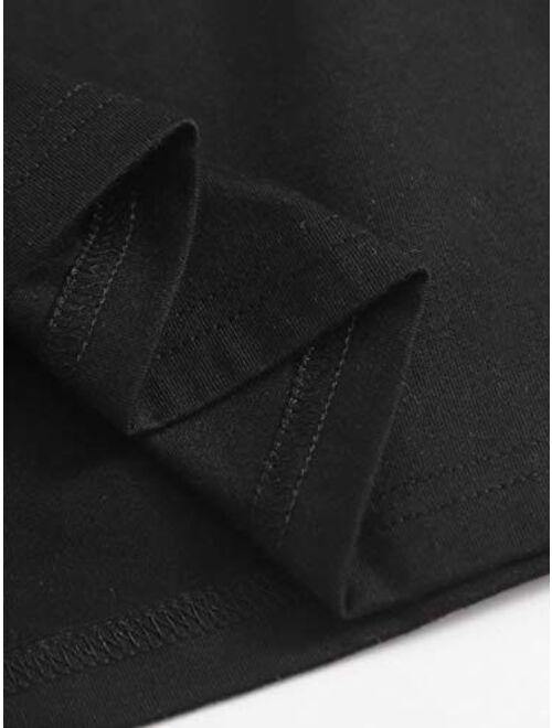 SweatyRocks Women's Basic Short Sleeve Scoop Neck Crop Top