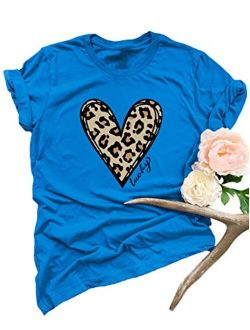 Women's Valentine's Day Shirts Casual Top T-shirt Short Sleeve Leopard Love Heart Graphic Tee