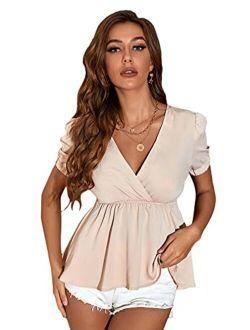 Women's Short Sleeve V Neck Wrap Ruffle Hem Babydoll Peplum Tops Blouses