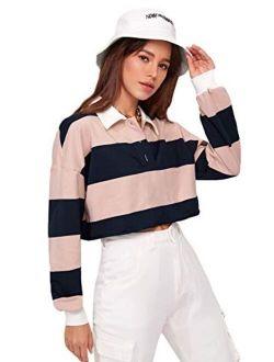 Women's Striped Color Block Long Sleeve Crop Top Half Button Collar Sweatshirt Pullover