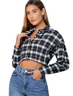 Women's Cute Color Block Long Sleeve Crop Tops Plaid Button Down Blouse
