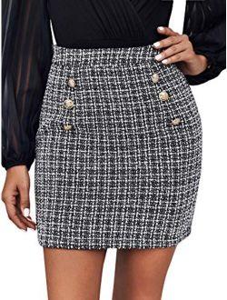 Women's Elegant High Waist A-line Plaid Tweed Mini Skirt