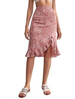 Women's Floral Print High Waist Wrap Ruffle Hem Flared A Line Midi Skirt