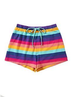 Women's Boho Paperbag Waist Snakeskin Self Tie Summer Beach Shorts