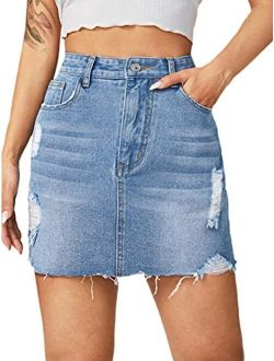 Women's Casual Distressed Ripped Raw Hem Bodycon Mini Denim Skirt