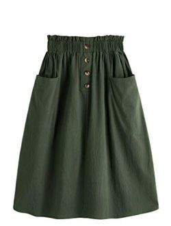 Women's Casual Paper Bag Waist A Line Pleated Midi Skirt With Pockets