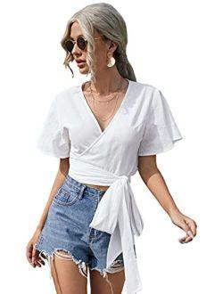Women's Short Sleeve Wrap V Neck Tie Front Crop Blouse Shirt Top