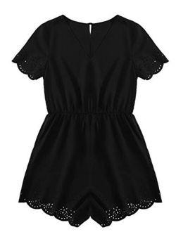 Women's Solid V Neck Playsuit Short Sleeve Romper Short Jumpsuit