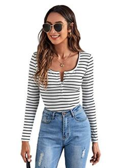 Women's Casual Long Sleeve Ribbed Knit Button Henley Striped T Shirt