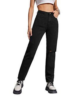 Women's High Waist Slant Pocket Denim Jeans Ripped Straight Leg Pants