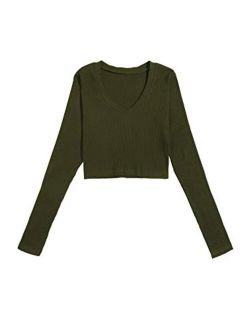 Women's Casual Solid Long Sleeve V Neck T-shirt Crop Top