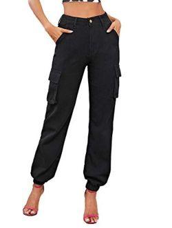 Women's Casual Cargon Pants Elastic Waist Sweatpants With Pockets