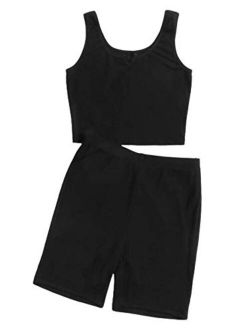Women's Two Piece Shorts Crop Tank Tops Bodycon Pants Sets Tracksuit