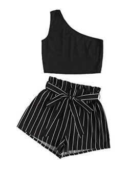 Women's 2 Piece Outfit One Shoulder Crop Top With Striped Shorts Set