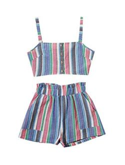 Women's 2 Piece Outfits Summer Sleeveless Tie Back Crop Cami Top And Shorts Set