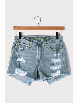 Adventurous Summer Light Wash Mid-Rise Super Destroyed Shorts