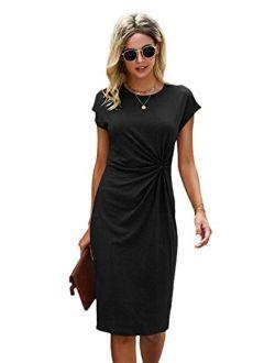 Women's Short Sleeve Twisted Front Round Neck Mini Short Dress