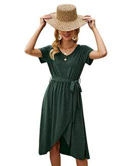 Women's Short Sleeve V Neck Belted Wrap A Line Midi Dress