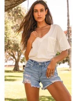 Kasenya Light Wash Mid-Rise Super Destroyed Shorts