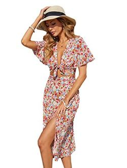 Women's Floral Short Sleeve Knot Front Bodycon Midi Dress With Slits