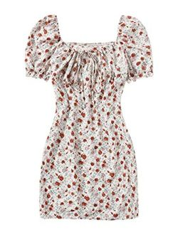 Women's Floral Print Puff Short Sleeve Ruched Bodycon Mini Short Dress