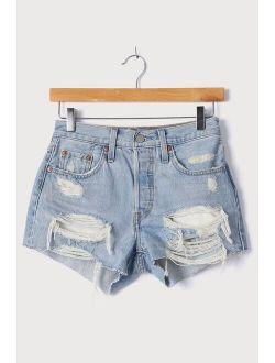 501 Light Wash Distressed High Rise Cutoff Denim Shorts