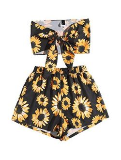 Women's 2 Piece Outfits Sexy Knot Front Bandeau Crop Top With Shorts Sets