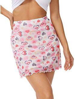 Women's Casual Floral Print Split Bodycon Short Mini Skirt