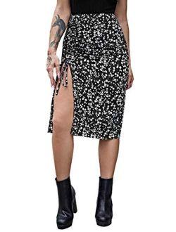 Women's Casual High Waist Boho Printed Side Split A-line Midi Skirt