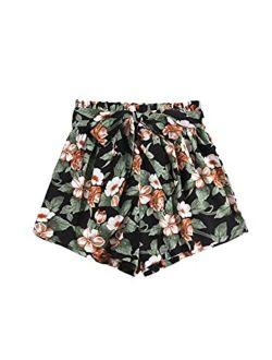 Women's Casual Tribal Print Elastic Waist Tie Front Summer Beach Shorts