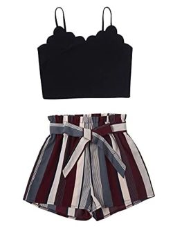 Women's Scallop Cami Top With Striped Belted Shorts 2 Pieces Set