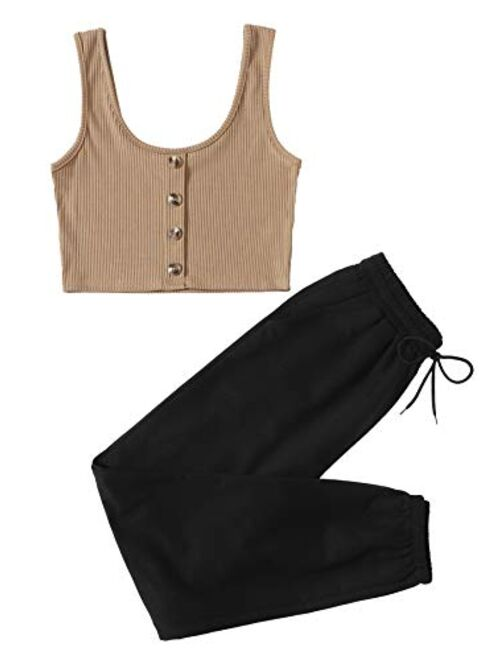 SweatyRocks Women's 2 Pieces Outfits Button Front Sleeveless Crop Tank Top and Long Pant Set