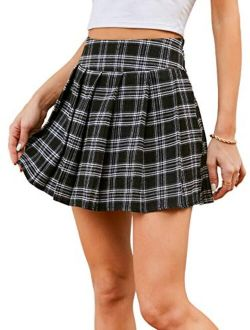 Women's Plaid High Waist Pleated Flared A Line Mini Skater Skirt