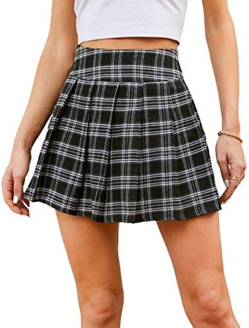 SweatyRocks Women's Plaid High Waist Pleated Flared A Line Mini Skater Skirt