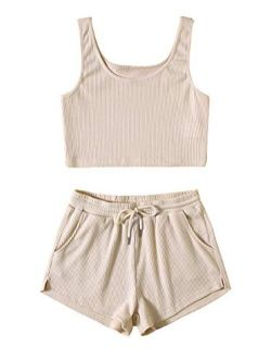 Women's Suit Two Piece Outfits Sleeveless Crop Cami Top And Shorts Set