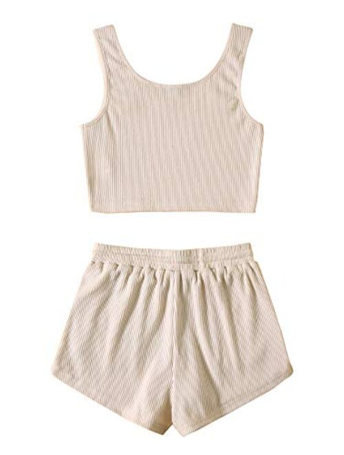 SweatyRocks Women's Suit Two Piece Outfits Sleeveless Crop Cami Top and Shorts Set