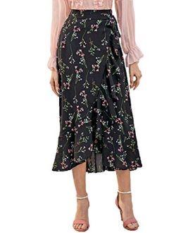 Women's Boho Ruffle Edge High Waist A Line Midi Wrap Knot Skirt