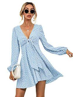 Women's Boho Long Sleeve Knot Front V Neck Swing A Line Mini Dress