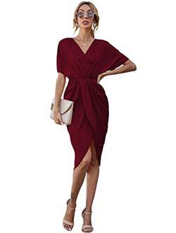 Women's Satin V Neck Short Batwing Sleeve Split Bodycon Midi Dress