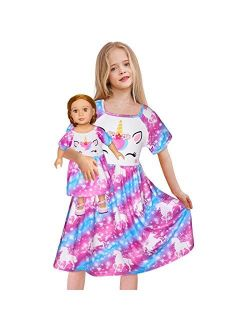 """Doll and Girl Matching Nightgown Unicorn Outfit Pajamas Night Dress for Girls and 18"""" Dolls Clothes"""