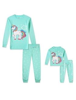 Babyroom Girls Matching Doll&Toddler 4 Piece Cotton Pajamas Toddler Unicorn Sleepwear