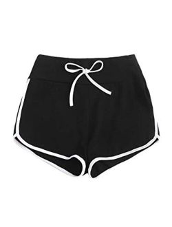 Women's Drawstring Waist Dolphin Running Workout Track Shorts With Pocket