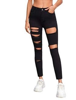 Women's Casual High Waist Ripped Skinny Jeans Distressed Denim Pants