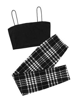 Women's 2 Piece Outfits Spaghetti Strap Crop Top With Plaid Pants Set