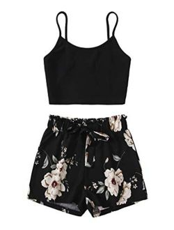 Women's Two Piece Outfits Boho Floral Print Spaghetti Strap Cami Crop Top With Shorts Set
