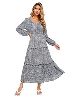 Women's Long Sleeve Floral Print Flared Flowy Chiffon Maxi Dress