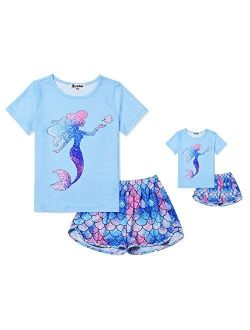 Matching Girls&dolls Pjs Summer Pajamas Sets For American Girl Clothes